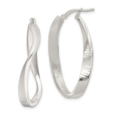 Quality Gold Sterling Silver Brushed & Textured Hollow Oval Twist Hoop Earrings
