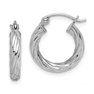 Quality Gold Sterling Silver Rhodium-plated 2.7x15mm Twisted Hoop Earrings