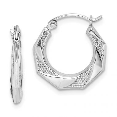 Quality Gold Sterling Silver Rhodium Plated Hollow Textured Polished Hoop Earrings