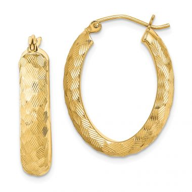 Quality Gold Sterling Silver Gold Plated Textured Oval Hoop Earrings