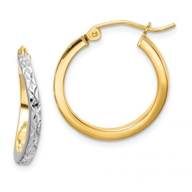 Quality Gold Sterling Silver Rhodium-plated & Vermeil  Square Tube Hoop Earrings