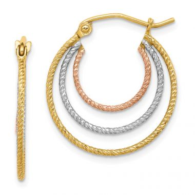 Quality Gold Sterling Silver Rhodium-plated Yellow & Rose Vermeil Txtrd Hoop Earrings