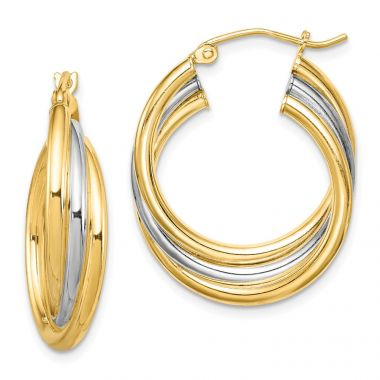 Quality Gold Sterling Silver Rhodium-plated & Gold-plated Hoop Earrings