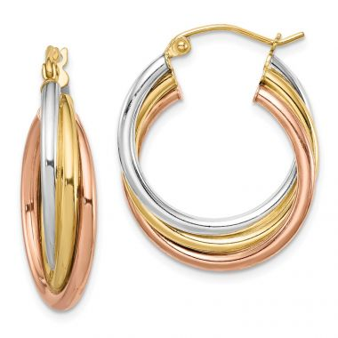 Quality Gold Sterling Silver Rhodium-plated Tri-color Gold-plated Hoop Earrings
