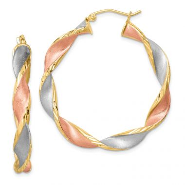 Quality Gold Sterling Silver Rhodium-plated & Yellow Rose Vermeil  Hoop Earrings