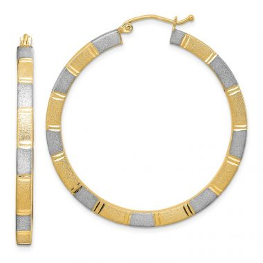 Quality Gold Sterling Silver Rhodium-plated & Vermeil  3x40mm Square Hoop Earrings