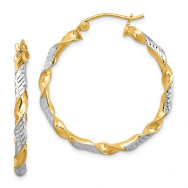Quality Gold Sterling Silver Rhodium-plated  Vermeil  3x30mm Twisted Hoop Earrings