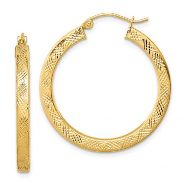 Quality Gold Sterling Silver Gold Plated  3x30mm  Hoop Earrings