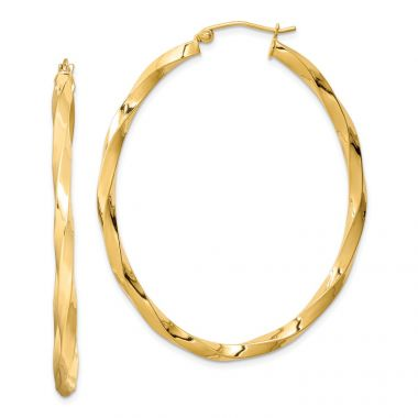 Quality Gold Sterling Silver Gold Plated Twisted Oval Hoop Earrings
