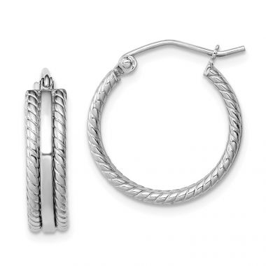 Quality Gold Sterling Silver Rhodium Plated Textured Hoop Earrings
