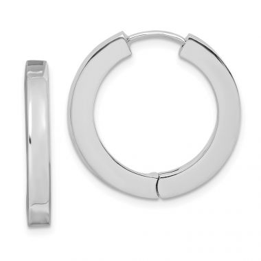 Quality Gold Sterling Silver Rhodium-plated Hollow Hinged Hoop Earrings