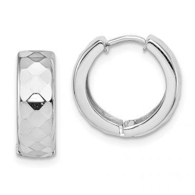 Quality Gold Sterling Silver Rhodium Polished Patterned Hinged Hoop Earrings