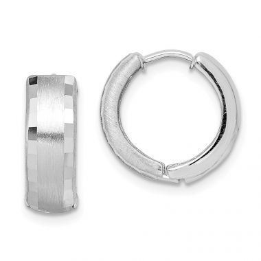 Quality Gold Sterling Silver Rhodium Brushed Patterned Hinged Hoop Earrings