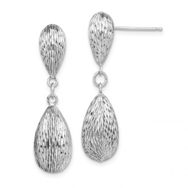 Quality Gold Sterling Silver Rhodium Plated  Tear Drop Dangle Earrings