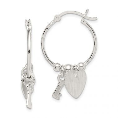Quality Gold Sterling Silver Polished and Textured Key and Heart Hoop Earrings