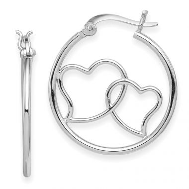 Quality Gold Sterling Silver Rhodium Plated Double Heart Hoop Earrings