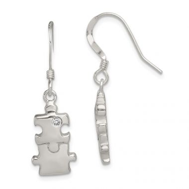 Quality Gold Sterling Silver Polished CZ Puzzle Pieces Dangle Earrings