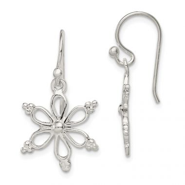 Quality Gold Sterling Silver Snowflake Shepherd Hook Dangle Earrings