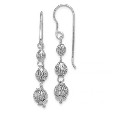 Quality Gold Sterling Silver Rhodium Plated Filigree Bead Dangle Earrings