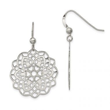 Quality Gold Sterling Silver Polished and Textured Flower Dangle Earrings