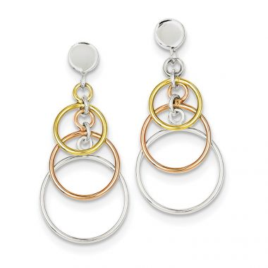 Quality Gold Sterling Silver Polished Flash Gold Plated Circle Dangle Post Earrings