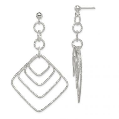 Quality Gold Sterling Silver Polished and Textured Square Post Dangle Earrings