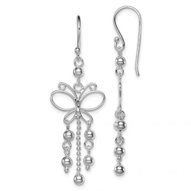 Quality Gold Sterling Silver Rhodium Plated Butterfly Dangle Earrings
