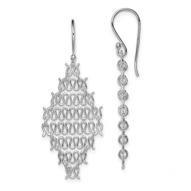 Quality Gold Sterling Silver Rhodium Plated Chain Link Dangle Earrings