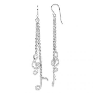 Quality Gold Sterling Silver Rhodium-plated Musical Notes Dangle Earrings