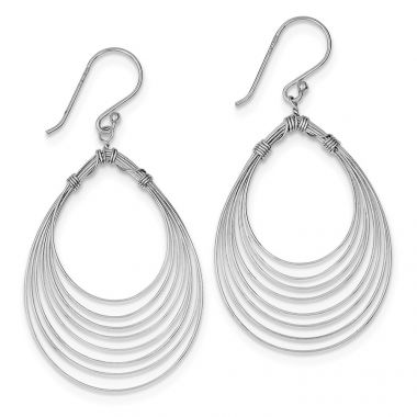 Quality Gold Sterling Silver Rhodium Plated Multi Ovals Dangle Earrings