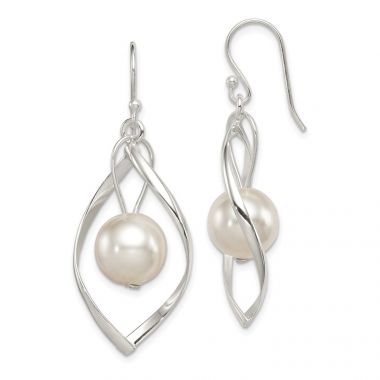 Quality Gold Sterling Silver Twist Dangle Simulated Pearl Earrings