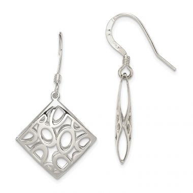 Quality Gold Sterling Silver Polished Square with Circles Dangle Earrings