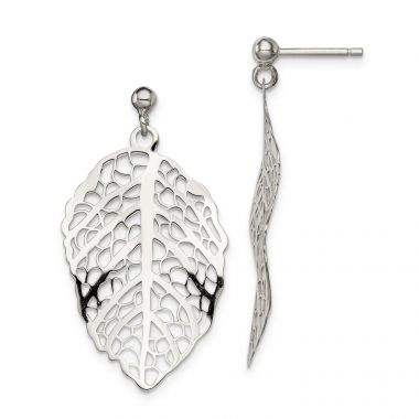 Quality Gold Sterling Silver Polished Leaf Post Dangle Earrings