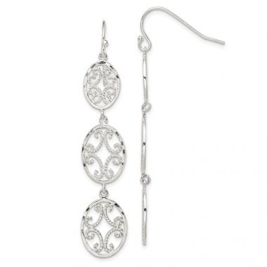 Quality Gold Sterling Silver Diamond Cut Ovals Dangle Earrings