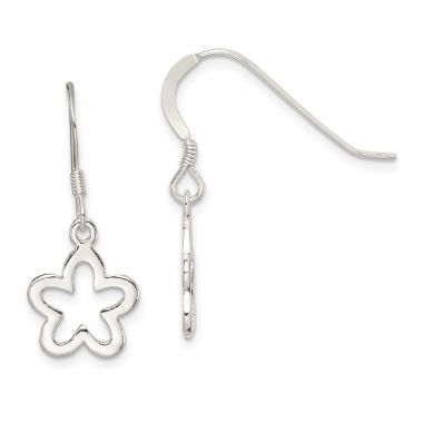 Quality Gold Sterling Silver Polished Flower Dangle Earrings