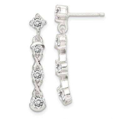 Quality Gold Sterling Silver Polished CZ Post Dangle Earrings