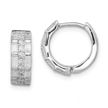 Quality Gold Sterling Silver Rhodium-plated CZ 3 Row Channel Baguette Hoop Earrings