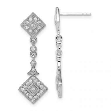 Quality Gold Sterling Silver Rhodium-plated CZ Pavé Squares Dangle Post Earrings