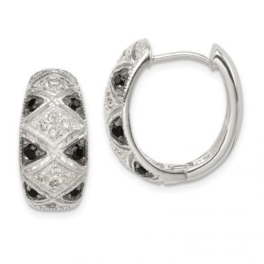 Quality Gold Sterling Silver Black & Clear CZ Hinged Hoop Earrings