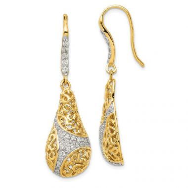 Quality Gold Sterling Silver Gold Plated CZ Teardrop Dangle Earrings