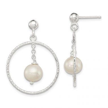 Quality Gold Sterling Silver Textured Freshwater Pearl Dangle Earrings