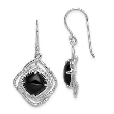 Quality Gold Sterling Silver Onyx Dangle Earrings