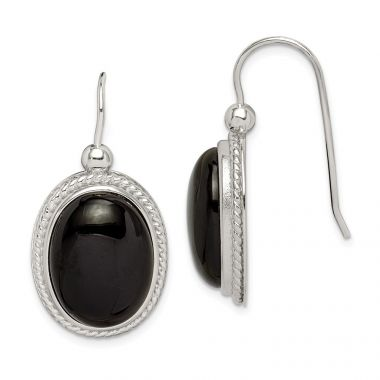 Quality Gold Sterling Silver Black Agate Dangle Earrings