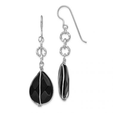 Quality Gold Sterling Silver Rhodium Plated Black Agate Tear Drop Dangle Earrings
