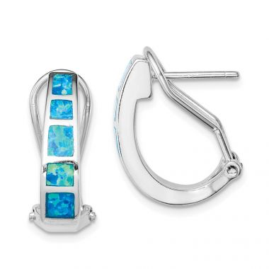 Quality Gold Sterling Silver Blue Inlay  Opal Squares Hoop Earrings