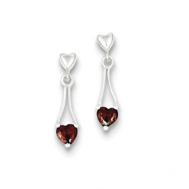 Quality Gold Sterling Silver Polished Garnet Heart Post Dangle Earrings