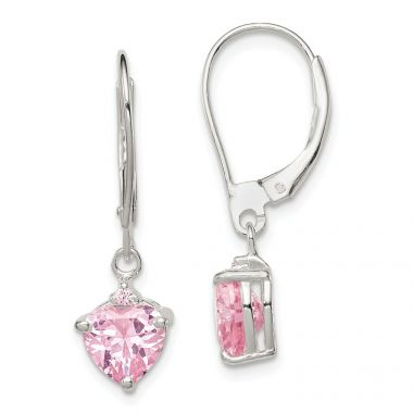 Quality Gold Sterling Silver Pink CZ Leverback Dangle Earrings