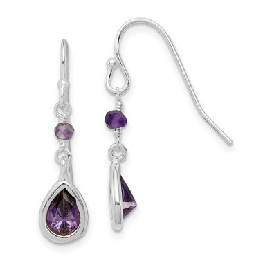 Quality Gold Sterling Silver Purple CZ  Dangle Earrings