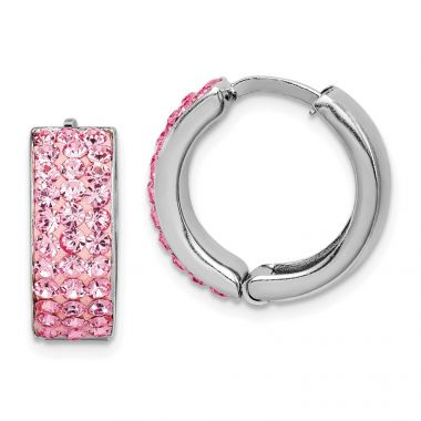 Quality Gold Sterling Silver Pink Preciosa Crystal Small Hinged Hoop Earrings