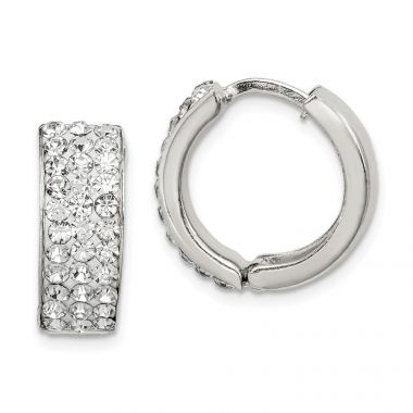 Quality Gold Sterling Silver White Crystal Small Hinged Hoop Earrings